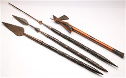 Sale 9119 - Lot 107 - A group of carved wooden handle weapons inc spears, axe (L:107cm -74cm)