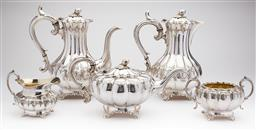 Sale 9123J - Lot 229 - An excellent quality antique English James Dixon silverplate 5 piece tea and coffee service C: 1900, each of the melon shaped pieces...