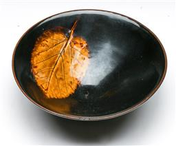 Sale 9164 - Lot 80 - A brown glazed Chinese bowl with leaf pattern (Dia 15.5cm)
