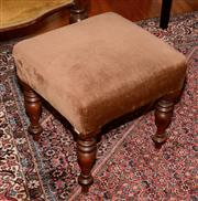 Sale 8107B - Lot 100 - A Victorian walnut stool on turned legs with upholstered top.