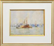 Sale 8259 - Lot 592 - Frederick James Elliott (1864 - 1949) - Steamer On Sydney Harbour 28 x 38cm