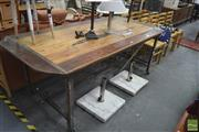 Sale 8257 - Lot 1088 - Timber Top Industrial Table, on metal base and castors
