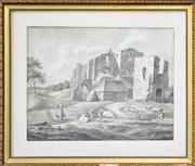 Sale 8599A - Lot 12 - Early 19th Century Dutch School - Milkmaid and Shepherd in Foreground of Castle Ruin 26 x 34cm