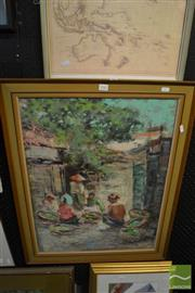 Sale 8449 - Lot 2053 - Indonesian School (XX) - Untitled (Cooking Villagers) 65 x 50cm