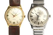 Sale 8564 - Lot 321 - TWO GENTS VINTAGE WATCHES; an 18ct gold Astin with applied markers red centre seconds, 17 jewell ETA 1256 automatic movement, worn...