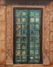 Sale 8633A - Lot 5047 - Stanley Perl (1942 - ) - Doors with Pillars (Doors of India Series) 50.5 x 40cm