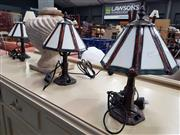 Sale 8744 - Lot 1079 - Set of 3 Art Deco Style Leadlight Shade Table Lamps