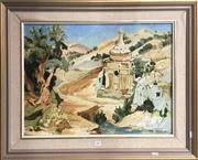 Sale 8753 - Lot 2083 - P Bergman - Ancient Ruin oil on board, 64 x 79cm (frame) signed lower right -