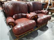 Sale 8760 - Lot 1063 - Good Pair of Leather Armchairs in Burgundy