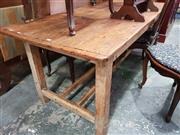 Sale 8814 - Lot 1060 - 19th Century Pine Farmhouse Table, on square legs with double stretcher base. 188 x 82 cm