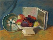 Sale 8955 - Lot 548 - Roland Wakelin (1887 - 1971) - Still Life with Comport, Book and Bowl 41 x 54 cm (frame: 54 x 67 x 3 cm)