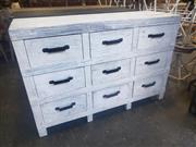 Sale 8951 - Lot 1093 - Industrial Timber Chest of Nine Drawers in White (H:110 x W:148 x D:50cm)