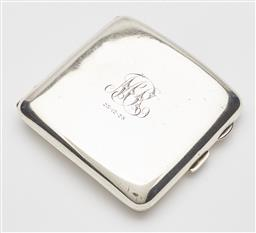 Sale 9085S - Lot 36 - George V Sterling Silver cigarette case, hallmarked Birmingham 1926, makers mark rubbed, of curved square form with gilt interior, t...