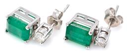 Sale 9124 - Lot 454 - A PAIR OF EMERALD AND DIAMOND STUD EARRINGS; each bead claw set in 14ct white gold with an emerald cut emerald surmounted by a round...