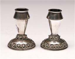 Sale 9119 - Lot 159 - A pair of Judaic sterling silver candle holders H:5cm