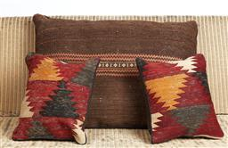 Sale 9123J - Lot 186 - A large throw cushion repurposed from Antique Kilim, approx 70 x 50cm, together with two smaller examples, each approx 40 x 40cm, al...