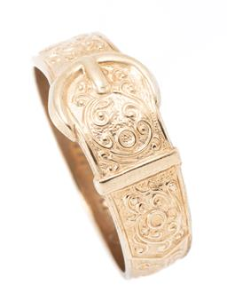 Sale 9182 - Lot 364 - AN ANTIQUE STYLE 9CT GOLD HALLMARK BUCKLE RING; width 11mm tapered band with scroll work and buckle feature, hallmarked J.H.W, Birmi...