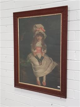 Sale 9218 - Lot 1028 - Pair of C19th Chromolithographs Bubble and Girl 81 x 62cm -