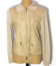 Sale 8196F - Lot 379 - A BURBERRY JACKET; linen viscose blend with leather front panels (10).