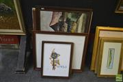 Sale 8250C - Lot 2026 - Original Oil Painting, Decorative Prints (2) and a framed Tapestry