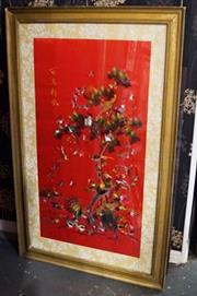 Sale 8320 - Lot 723 - a 1970 Large framed Chinese embroidered red silk panel featuring a design of numerous birds amongst trees
