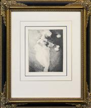Sale 8332A - Lot 16 - Norman Lindsay (1879 - 1969) - In the Garden 22 x 20.5cm