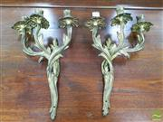 Sale 8444 - Lot 1019 - Pair of Rococo Style Gilt Brass Wall Sconces, each with three leaf form branches