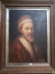 Sale 8645 - Lot 2075 - Artist Unknown - Portrait After Rembrandt 80 x 64cm (frame size)