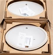 Sale 8677A - Lot 80 - A pair of matching Villeroy & Boch hand basins, with fixtures and instructions (as new), width of basin 56cm