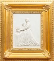 Sale 8774A - Lot 76 - A bisque porcelain plaque of a continental lady smelling a rose in a gilt carved frame, 43 x 37