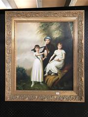 Sale 8784 - Lot 2066 - Early C19th Style Family Portrait, 76 x 66cm (frame)