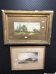 Sale 8797 - Lot 2154 - 2 Artworks: Artist Unknown - The Cottage, C.J. Thornton - Norfolk Marshes, Details Verso, both Watercolours