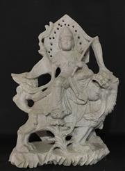 Sale 8857H - Lot 69 - An Early Finely Carved Wen Shu Statue Size, Carved From Single Piece Of Stone ,General Wear , with Natural Stone Vein/Crack Line S...