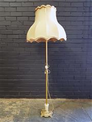 Sale 8979 - Lot 1019 - Brass and Alabaster Floor Lamp with a Large Shade (H:172 D:61cm)