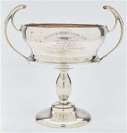 Sale 9085S - Lot 5 - George V Sterling Silver twin handled cup, hallmarked Birmingham 1929, makers mark rubbed, inscribed Brighton Park Racing Club, Lel...