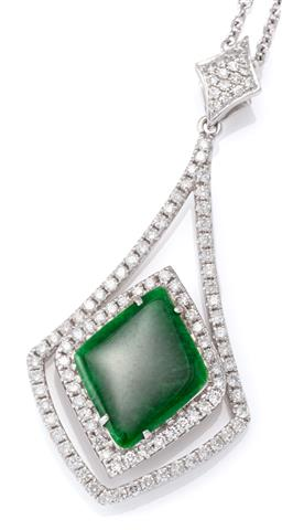 Sale 9124 - Lot 491 - AN 18CT WHITE GOLD DIAMOND AND GEMSET PENDANT; diamond shape green jade, (omphacite) plaque 16 x 12.5mm to surround, frame and bale...