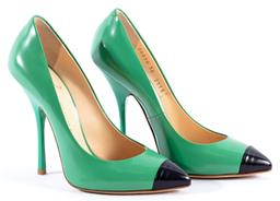 Sale 9132 - Lot 566 - GIUSEPPE ZANOTTI STILETTOS, peacock green leather with black tip to the point, 11cm heel, size 36.