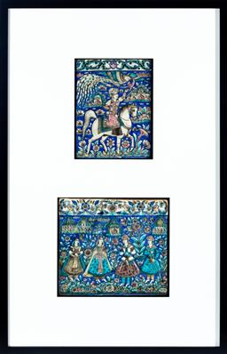 Sale 9130S - Lot 1 - C.19th Persian glazed ceramic tiles in frame, one depicting courting couples, the other depicting rider and horse and phoenix, frame...
