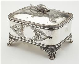 Sale 9123J - Lot 231 - An antique American silverplate sardine box, Rogers & Smith, Meriden Connecticut, USA C: 1890's, the cushion shaped lid with engrave..