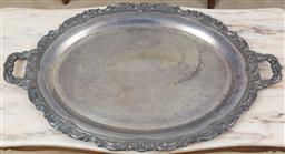 Sale 9140H - Lot 99 - A large twin handled plated butlers tray, Length 78cm