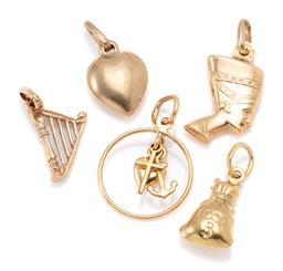 Sale 9164J - Lot 314 - FIVE 9CT GOLD CHARMS; Nefertiti, heart, harp, money bag and a halo attached with faith, hope & charity, total wt. 3.41g.
