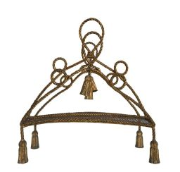 Sale 9150J - Lot 55 - A vintage French gilt metal rope twist design magazine rack - 55T x 45W x 20D