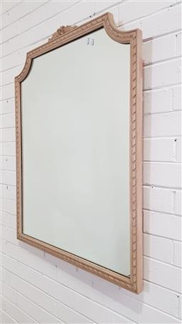 Sale 9157 - Lot 1051 - White washed timber framed mirror (h:103 x w:81cm)