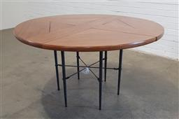 Sale 9166 - Lot 1016 - Round timber top dining table over metal base (h:75 x d:134cm)