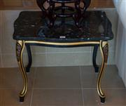 Sale 7984 - Lot 81 - A pair of marble shaped top occasional tables on gilt cabriole legs.