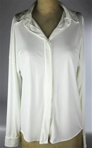 Sale 8087B - Lot 385 - FIVE LADYS DESIGNER SHIRTS AND BLOUSES; 2 white Herringbone shirts size 10, 2 Marc Cain white and cream blouses and Ralph Lauren...