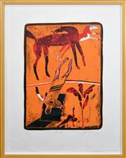 Sale 8316 - Lot 597 - Robert Juniper (1929 - 2012) - Horse Rider, 1979 61 x 45cm