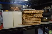 Sale 8530 - Lot 2167 - 6 Tea Light Lamps, Wicker Place Mats, Collection of Various Platters