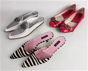 Sale 8550F - Lot 166 - Three pairs of shoes including Dior pink court shoes with buckle, size 37.5, Donald J Pliner slip-ons with white leather and silver...