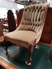 Sale 8728 - Lot 1030 - Early Victorian Carved Mahogany Slipper Chair, with carved crest, upholstered in buttoned velvet, with bracket front and on cabriole...